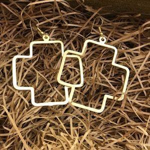 Handmade gold cross earrings